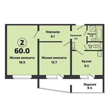 Вариант №3807, 2-комнатная квартира в жилом комплексе Акварельный 3.0