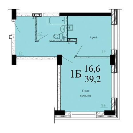 Вариант №6531, 1-комнатная квартира в жилом комплексе