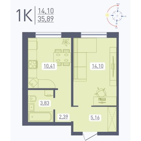 Вариант №5556, 1-комнатная квартира в жилом комплексе