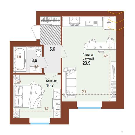 Вариант №4203, 2-комнатная квартира в жилом комплексе