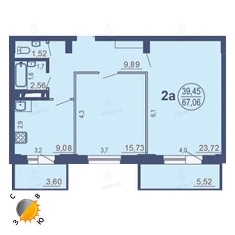Вариант №1685, 2-комнатная квартира в жилом комплексе На Зыряновской