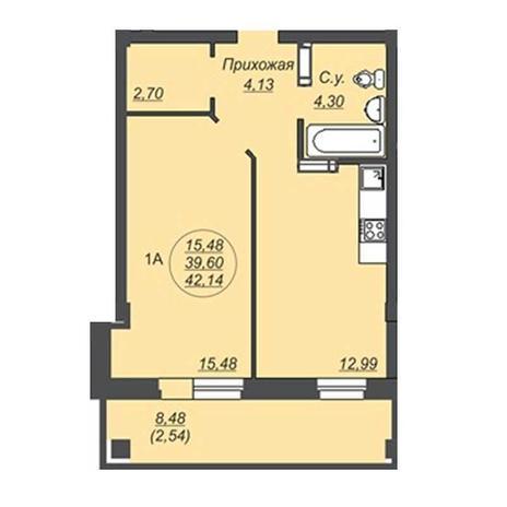 Вариант №4928, 1-комнатная квартира в жилом комплексе