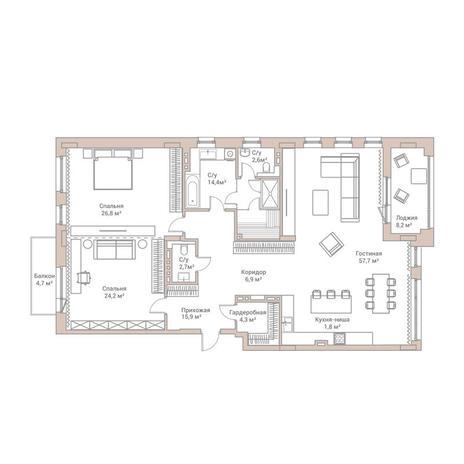 Вариант №3581, 4-комнатная квартира в жилом комплексе