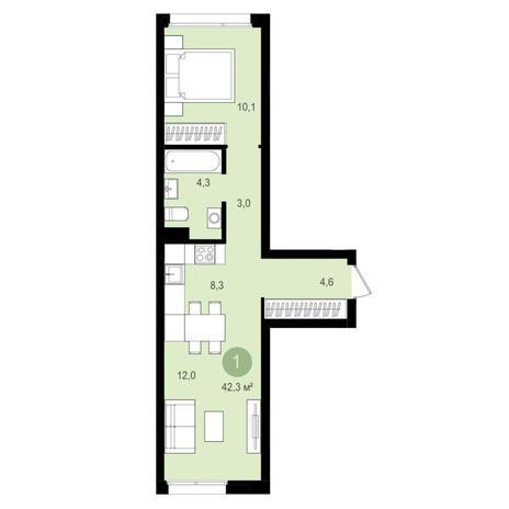 Вариант №4350, 2-комнатная квартира в жилом комплексе Авиатор