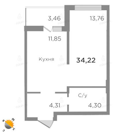 Вариант №1759, 1-комнатная квартира в жилом комплексе