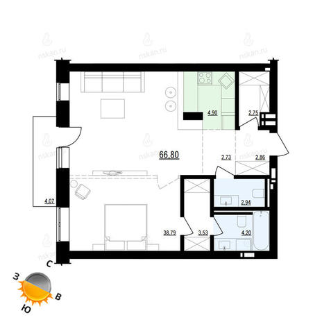 Вариант №884, 1-комнатная квартира в жилом комплексе Европейский Берег