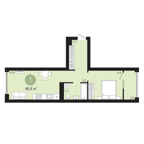 Вариант №3009, 2-комнатная квартира в жилом комплексе
