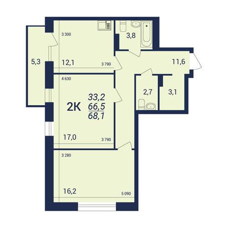 Вариант №3918, 2-комнатная квартира в жилом комплексе NOVA-дом