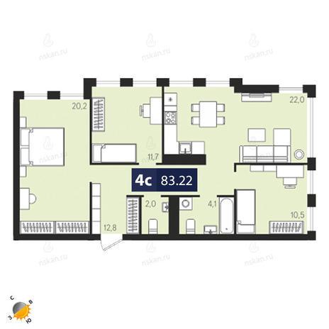 Вариант №1869, 4-комнатная квартира в жилом комплексе Европейский Берег