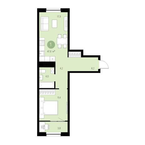 Вариант №4677, 2-комнатная квартира в жилом комплексе Акварельный 3.0