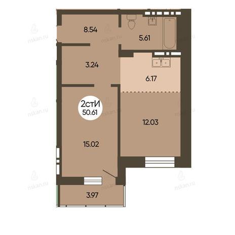 Вариант №2499, 2-комнатная квартира в жилом комплексе Революция