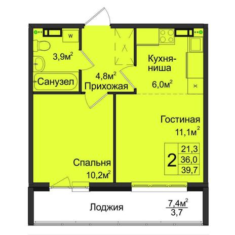 Вариант №5026, 2-комнатная квартира в жилом комплексе