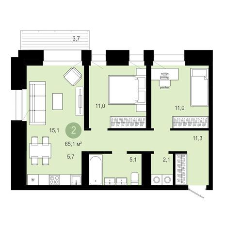 Вариант №4027, 3-комнатная квартира в жилом комплексе Бульварный переулок