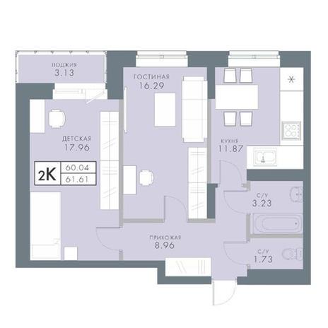 Вариант №2834, 2-комнатная квартира в жилом комплексе Традиции