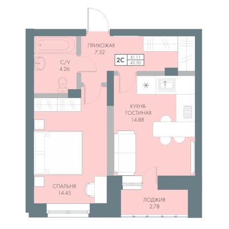 Вариант №4235, 2-комнатная квартира в жилом комплексе Весна