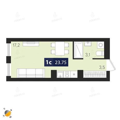 Вариант №1879, 1-комнатная квартира в жилом комплексе Европейский Берег