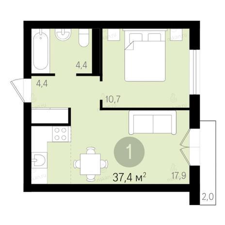 Вариант №2679, 2-комнатная квартира в жилом комплексе Дунаевский