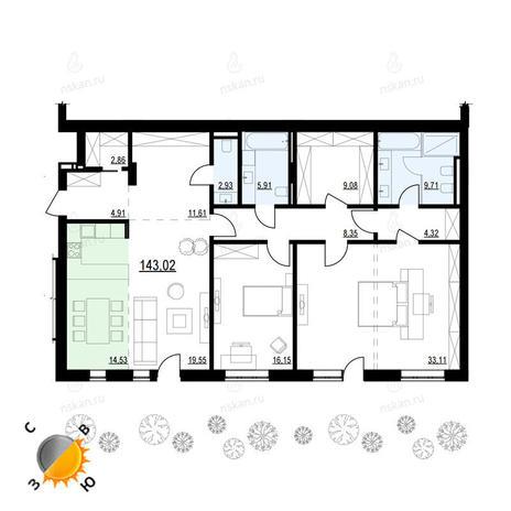Вариант №898, 3-комнатная квартира в жилом комплексе Жуковка