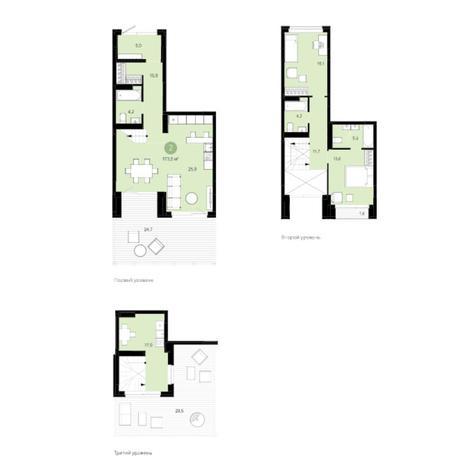 Вариант №5991, 3-комнатная квартира в жилом комплексе