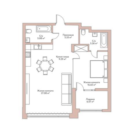 Вариант №5961, 2-комнатная квартира в жилом комплексе