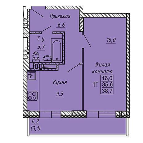 Вариант №3277, 1-комнатная квартира в жилом комплексе Ника