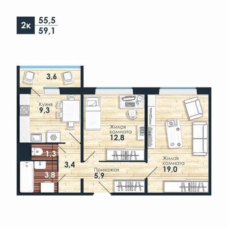 Вариант №5588, 2-комнатная квартира в жилом комплексе Ясный берег
