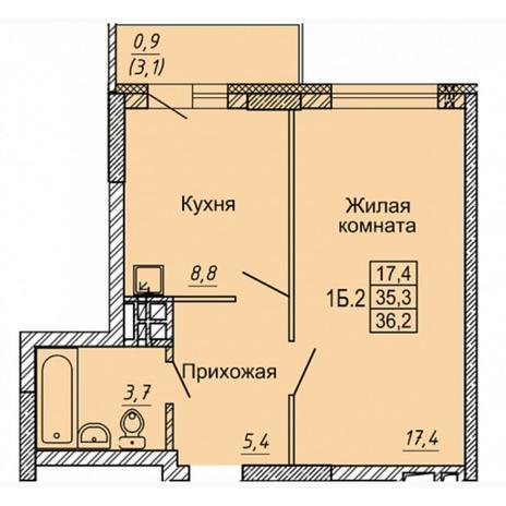 Вариант №4972, 1-комнатная квартира в жилом комплексе