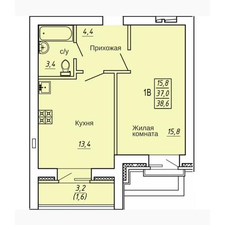 Вариант №4316, 1-комнатная квартира в жилом комплексе Ясный берег