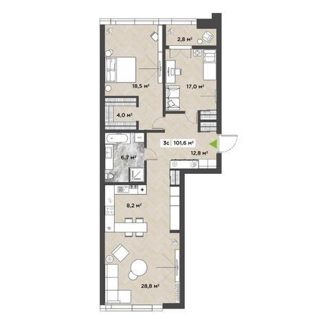 Вариант №5848, 3-комнатная квартира в жилом комплексе