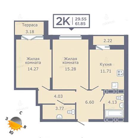 Вариант №1351, 2-комнатная квартира в жилом комплексе Дом на Садовой