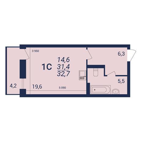 Вариант №3920, 1-комнатная квартира в жилом комплексе NOVA-дом