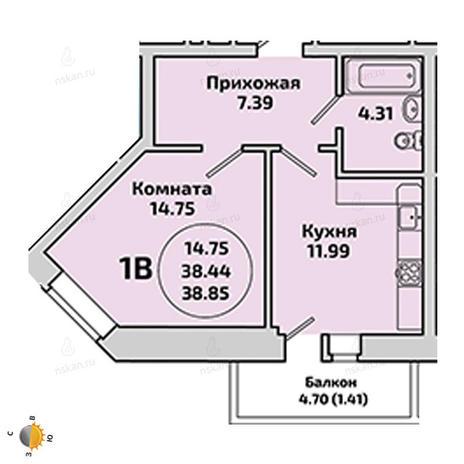 Вариант №1964, 1-комнатная квартира в жилом комплексе Приозерный