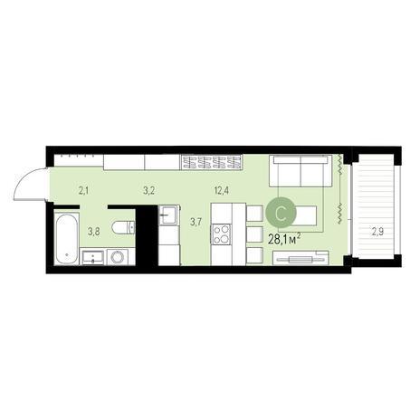 Вариант №5467, 1-комнатная квартира в жилом комплексе
