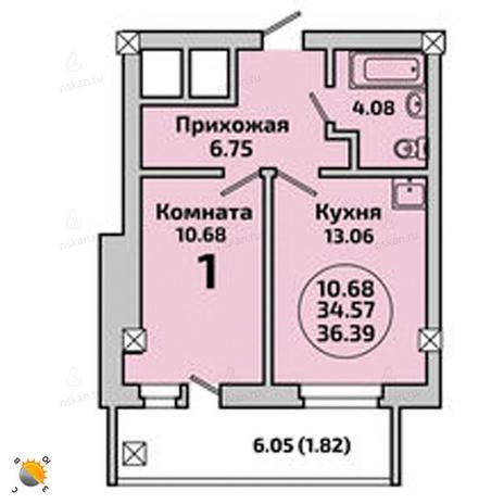 Вариант №1995, 1-комнатная квартира в жилом комплексе Приозерный