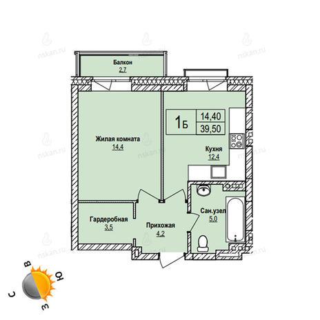 Вариант №1098, 1-комнатная квартира в жилом комплексе Акварельный 3.0