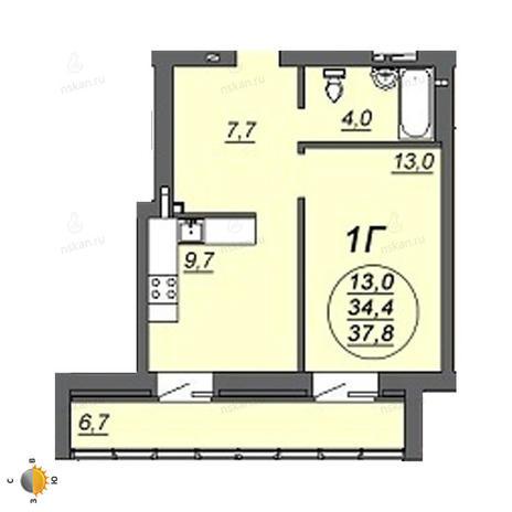 Вариант №2243, 1-комнатная квартира в жилом комплексе