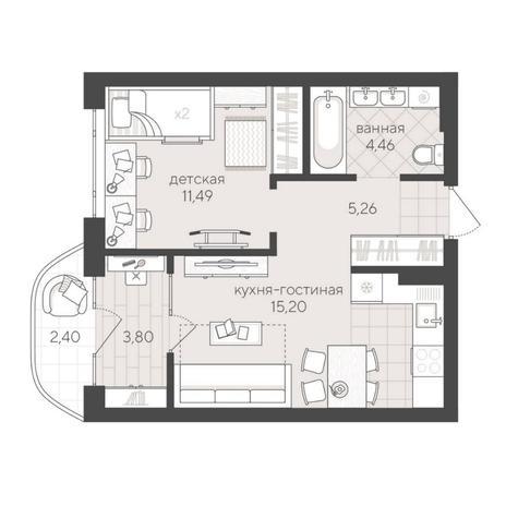 Вариант №6253, 2-комнатная квартира в жилом комплексе