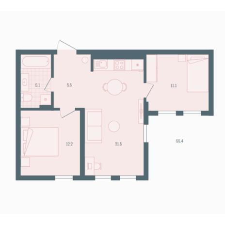 Вариант №5937, 2-комнатная квартира в жилом комплексе