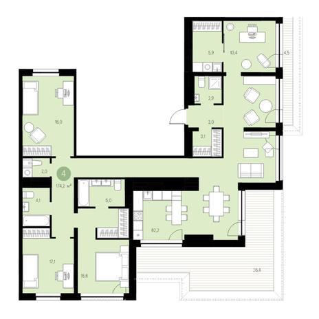 Вариант №4722, 5-комнатная квартира в жилом комплексе Пшеница