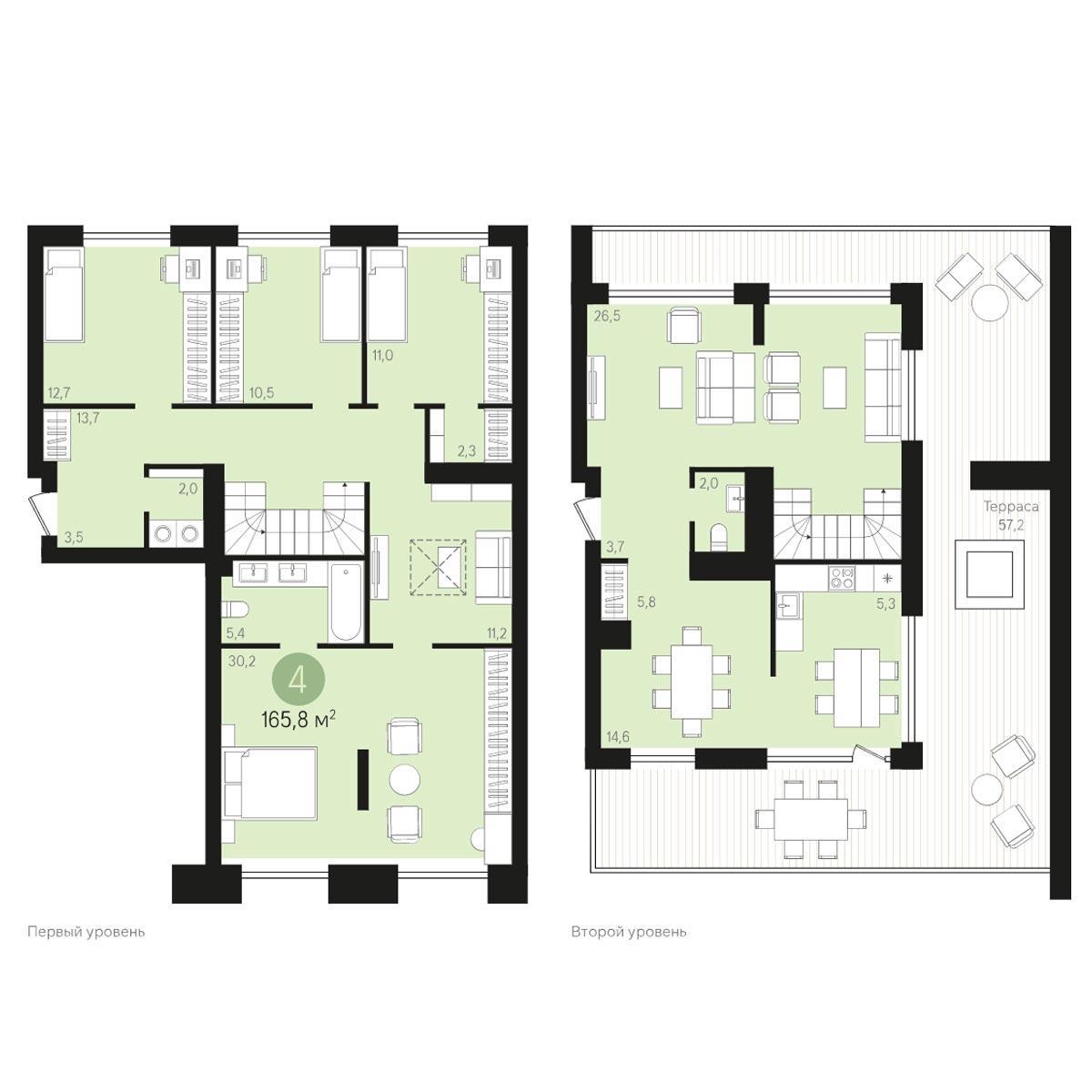 Планировка 4-комнатная площадью 165.8 м<sup>2</sup> в ЖК Европейский Берег