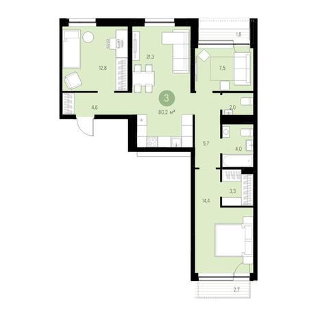 Вариант №4671, 4-комнатная квартира в жилом комплексе Спектр