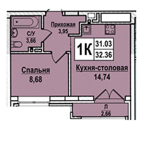 Вариант №2938, 1-комнатная квартира в жилом комплексе