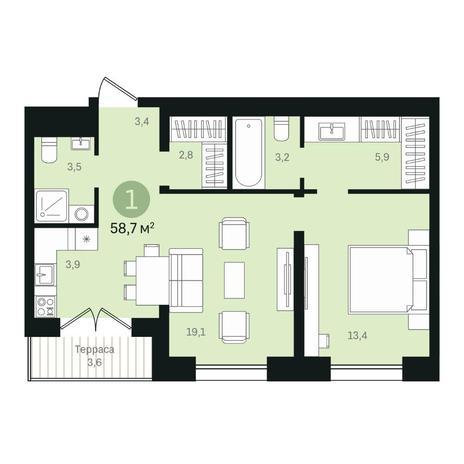 Вариант №6361, 2-комнатная квартира в жилом комплексе