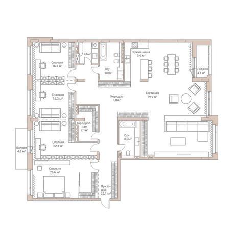 Вариант №3583, 4-комнатная квартира в жилом комплексе