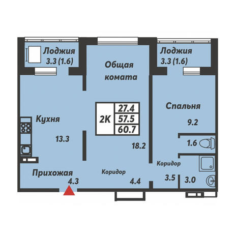 Вариант №3703, 2-комнатная квартира в жилом комплексе Галактика