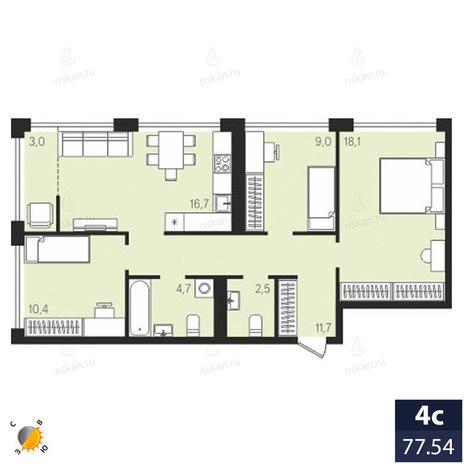 Вариант №1925, 4-комнатная квартира в жилом комплексе Панорама