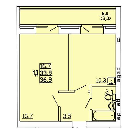 Вариант №4009, 1-комнатная квартира в жилом комплексе