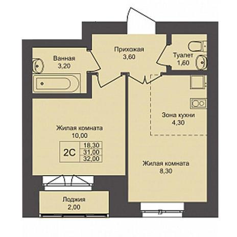Вариант №3787, 2-комнатная квартира в жилом комплексе Чистая Слобода