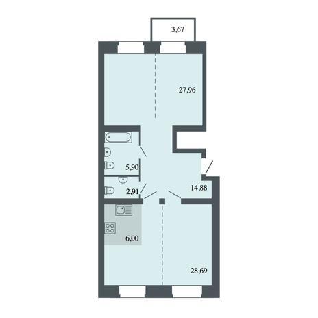 Вариант №4487, 4-комнатная квартира в жилом комплексе Спектр