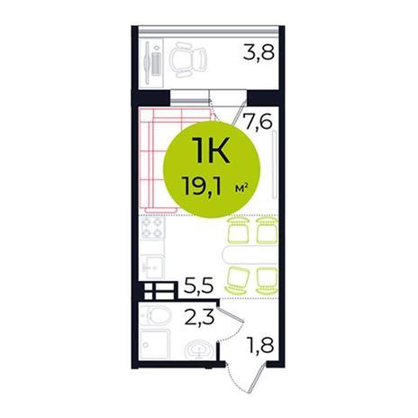 Вариант №5485, 1-комнатная квартира в жилом комплексе